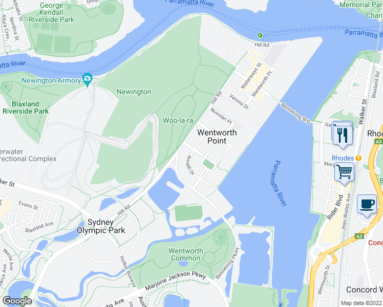 map of restaurants, bars, coffee shops, grocery stores, and more near Amalfi Drive in Wentworth Point