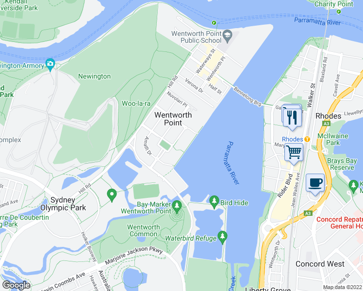 map of restaurants, bars, coffee shops, grocery stores, and more near 31 The Promenade in Wentworth Point