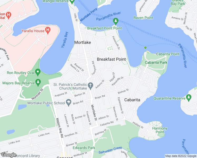 map of restaurants, bars, coffee shops, grocery stores, and more near Emily Street in City of Canada Bay Council