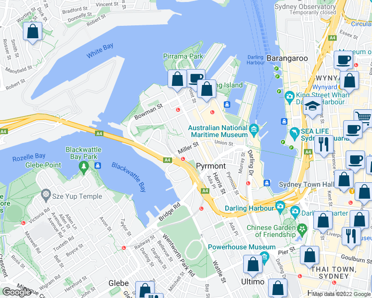 map of restaurants, bars, coffee shops, grocery stores, and more near 63 Miller Street in Pyrmont
