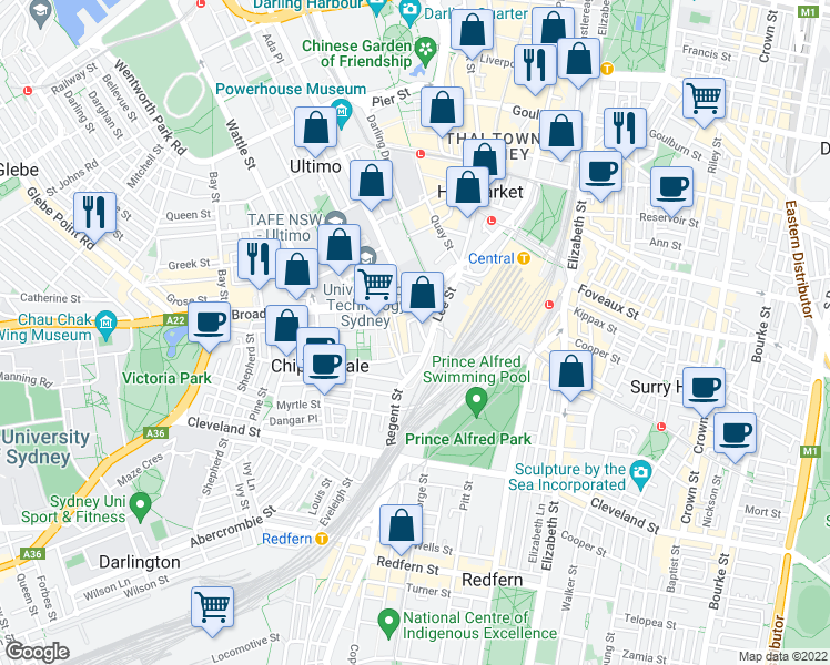 map of restaurants, bars, coffee shops, grocery stores, and more near 31 Regent Street in Chippendale