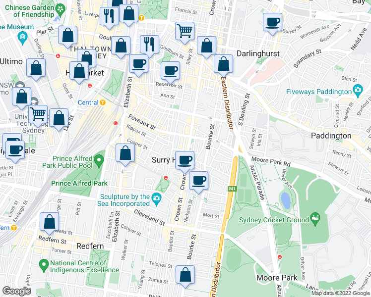 map of restaurants, bars, coffee shops, grocery stores, and more near 405 Crown Street in Surry Hills