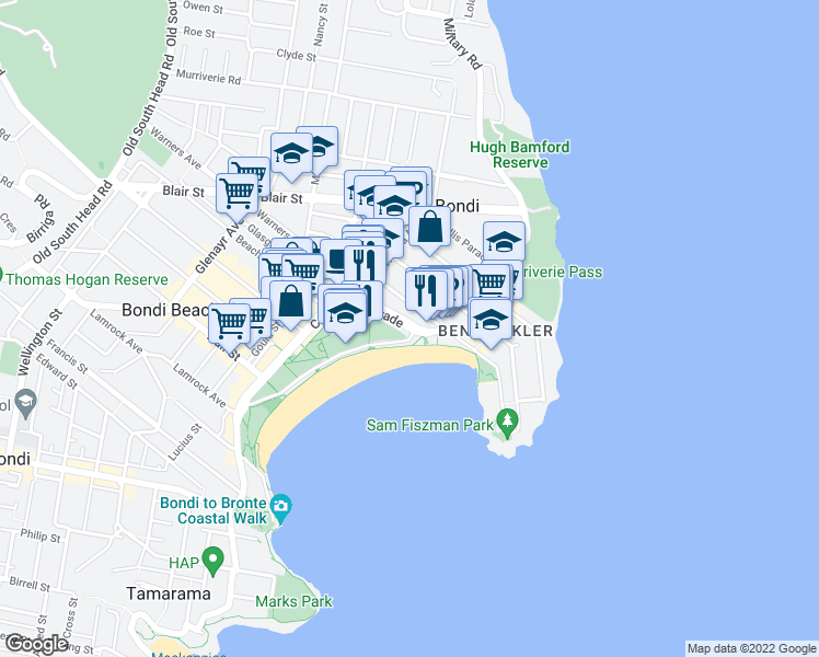map of restaurants, bars, coffee shops, grocery stores, and more near Campbell Parade in Bondi Beach