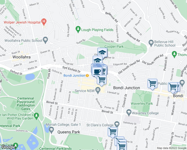 map of restaurants, bars, coffee shops, grocery stores, and more near 95-97 Grafton Street in Bondi Junction