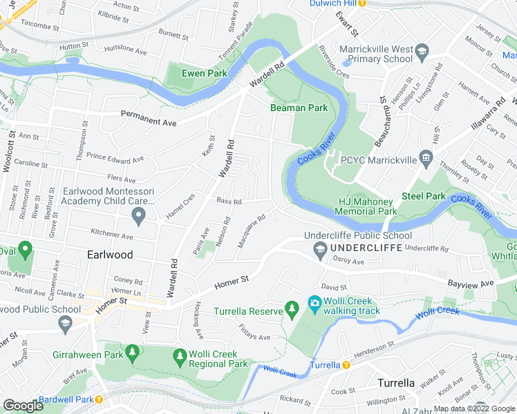 map of restaurants, bars, coffee shops, grocery stores, and more near 4 Bass Road in Earlwood