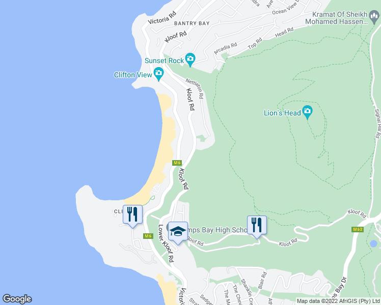 map of restaurants, bars, coffee shops, grocery stores, and more near 286 Kloof Road in Cape Town