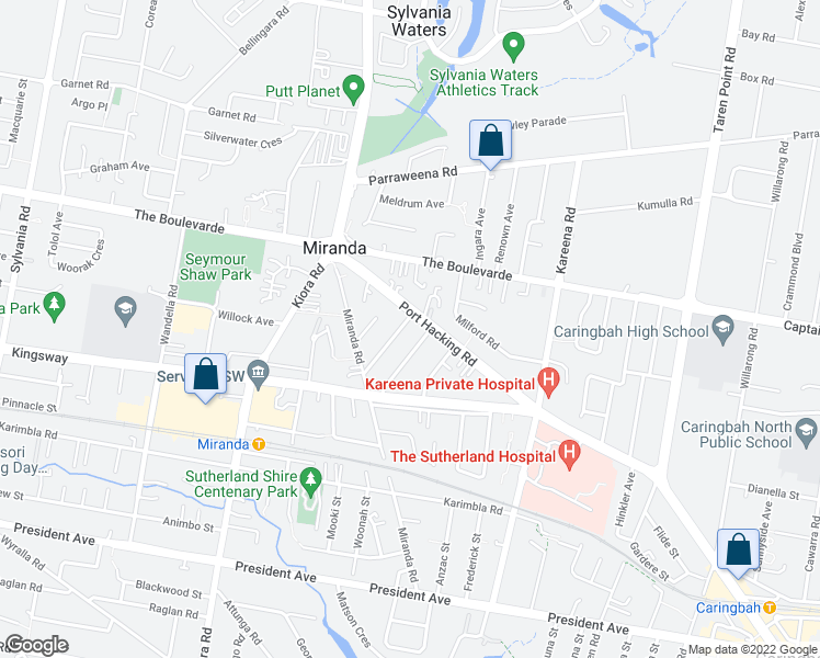 map of restaurants, bars, coffee shops, grocery stores, and more near 2 Montgomery Street in Miranda
