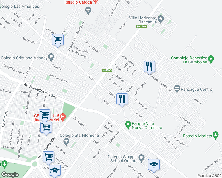 map of restaurants, bars, coffee shops, grocery stores, and more near 1003 Asteroide in Rancagua