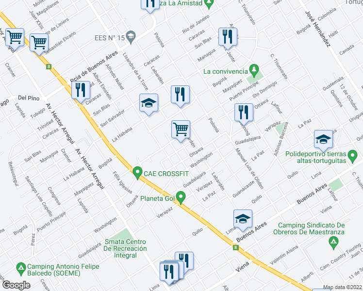 map of restaurants, bars, coffee shops, grocery stores, and more near 3249 Lisandro de la Torre in Tortuguitas