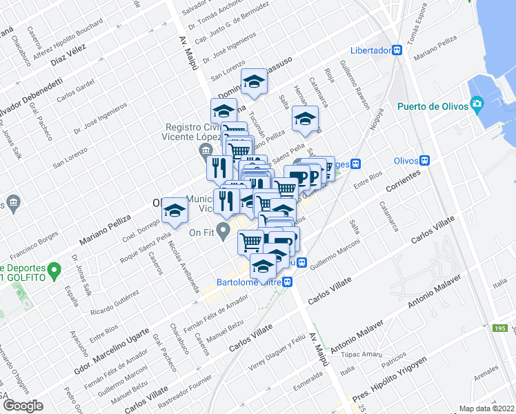 map of restaurants, bars, coffee shops, grocery stores, and more near 2700 Avenida Maipú in Olivos