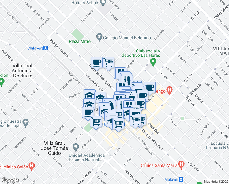 map of restaurants, bars, coffee shops, grocery stores, and more near 2700-2798 122 General Paz in Villa Ballester