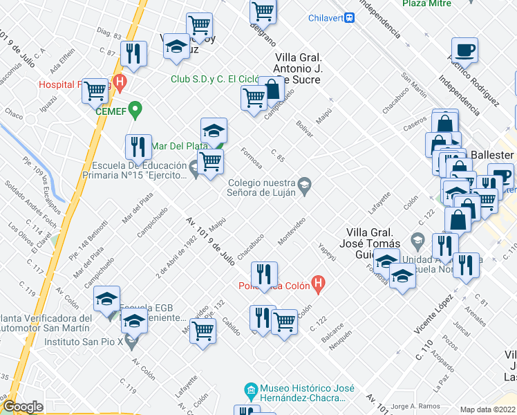 map of restaurants, bars, coffee shops, grocery stores, and more near 3993 Chacabuco in Villa Ballester