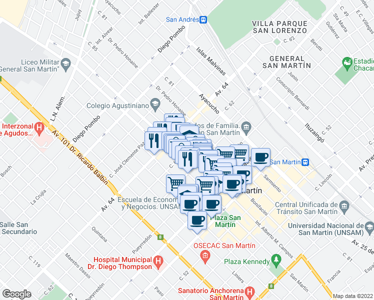 map of restaurants, bars, coffee shops, grocery stores, and more near 3676 62 Ramón L. Falcon in General San Martín