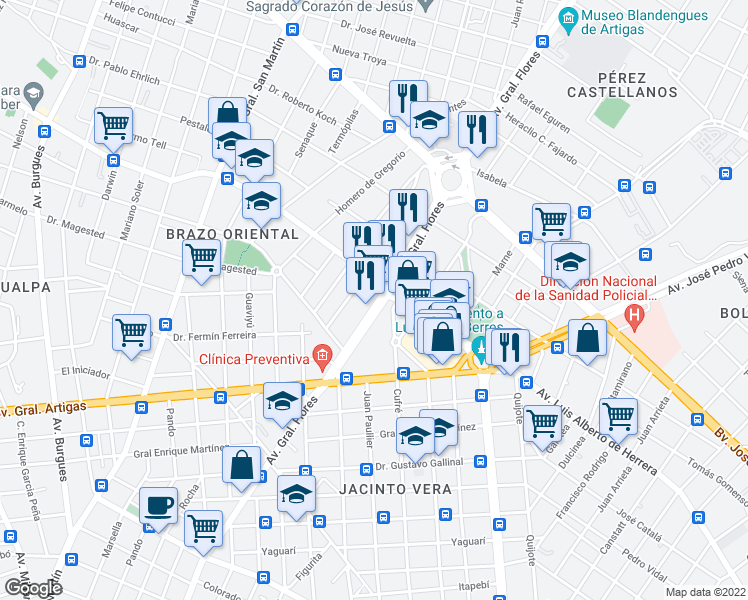 map of restaurants, bars, coffee shops, grocery stores, and more near Avenida Gral Flores in Montevideo