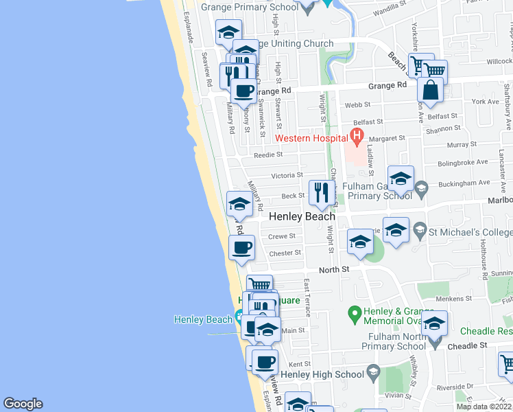 map of restaurants, bars, coffee shops, grocery stores, and more near 347 Military Road in Henley Beach