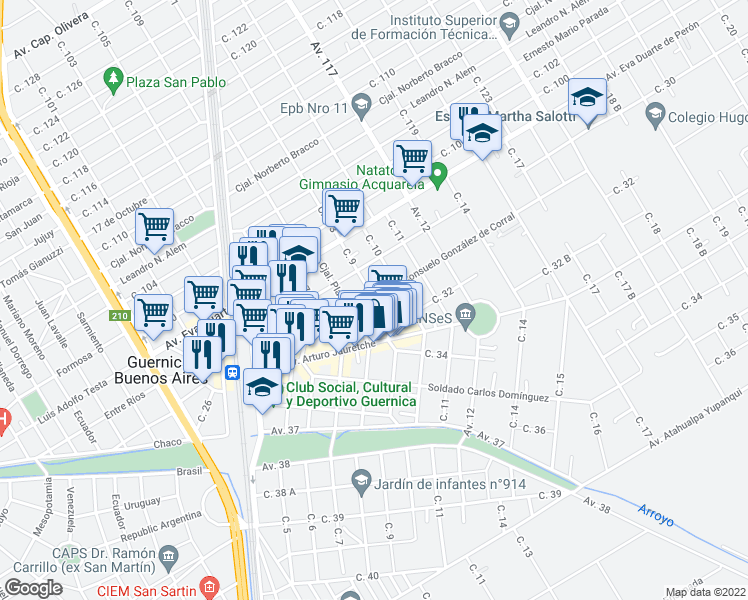 map of restaurants, bars, coffee shops, grocery stores, and more near 799 María Consuelo González de Corral in Presidente Perón