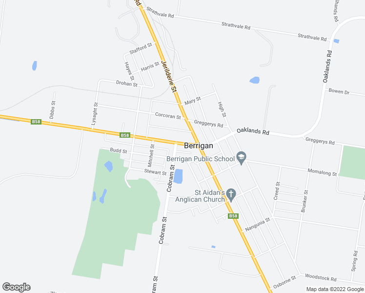map of restaurants, bars, coffee shops, grocery stores, and more near 44 Chanter Street in Berrigan