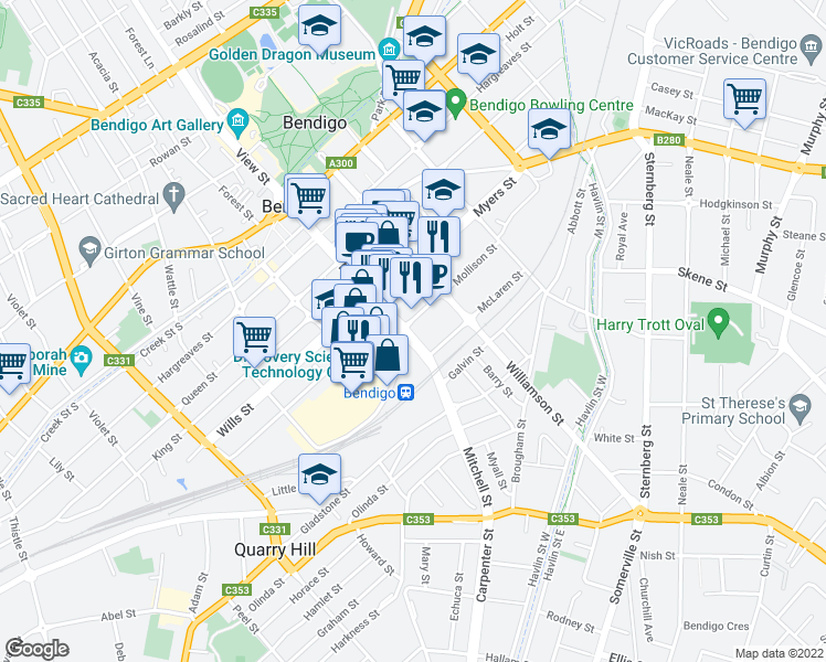 map of restaurants, bars, coffee shops, grocery stores, and more near 111 Mitchell Street in Bendigo