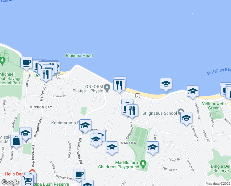 map of restaurants, bars, coffee shops, grocery stores, and more near 20 Eltham Road in Auckland