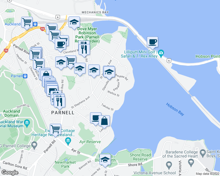 map of restaurants, bars, coffee shops, grocery stores, and more near 6A Lichfield Road in Auckland