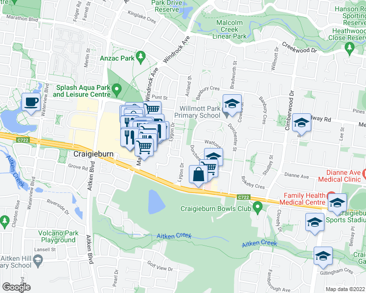 map of restaurants, bars, coffee shops, grocery stores, and more near 14 Brunswick Crescent in Craigieburn