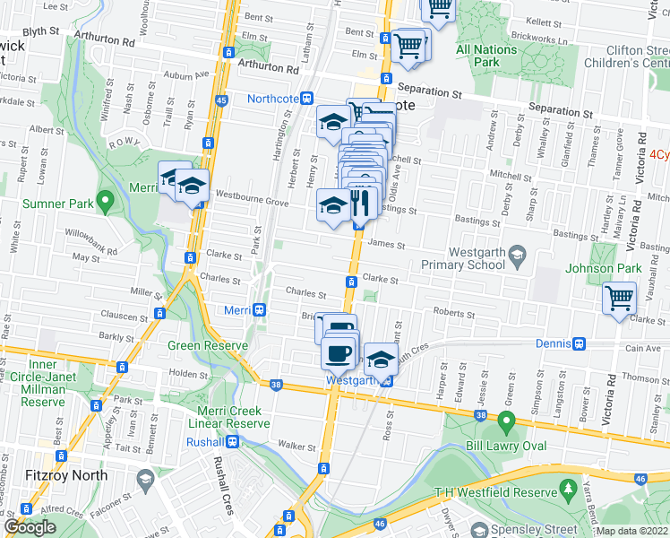 map of restaurants, bars, coffee shops, grocery stores, and more near 171 Clarke Street in Northcote