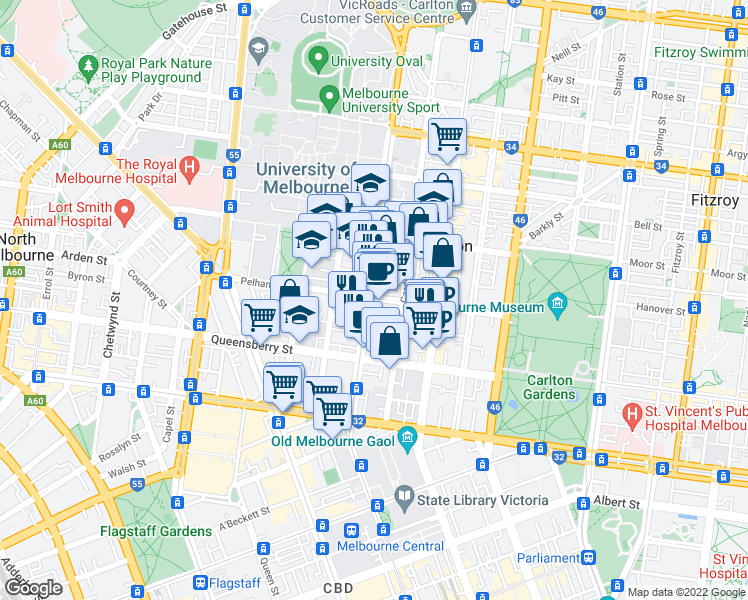 map of restaurants, bars, coffee shops, grocery stores, and more near Pelham Street in Carlton
