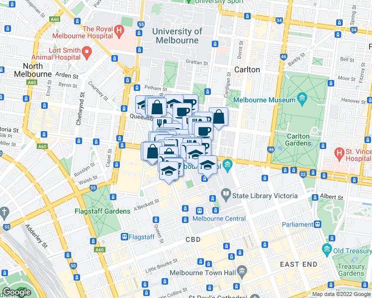 map of restaurants, bars, coffee shops, grocery stores, and more near 1-19 Bouverie Street in Carlton