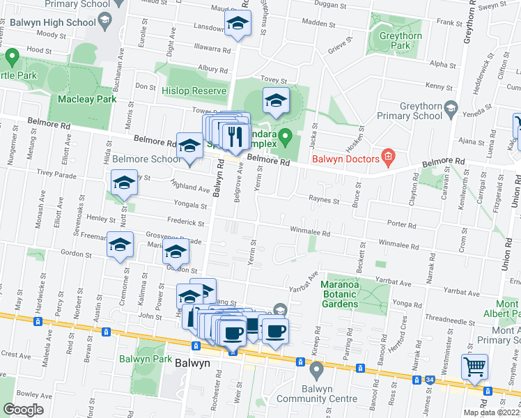 map of restaurants, bars, coffee shops, grocery stores, and more near 76 Yerrin Street in Balwyn