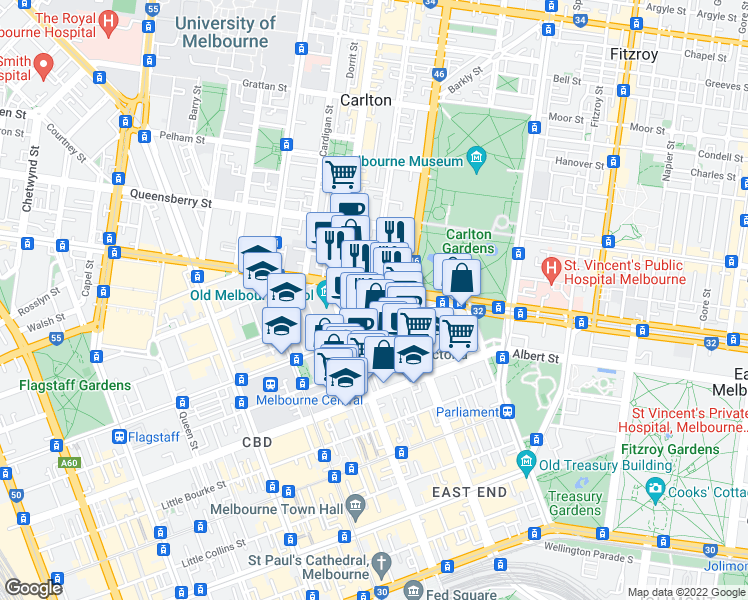 map of restaurants, bars, coffee shops, grocery stores, and more near 9-23 MacKenzie Street in Melbourne