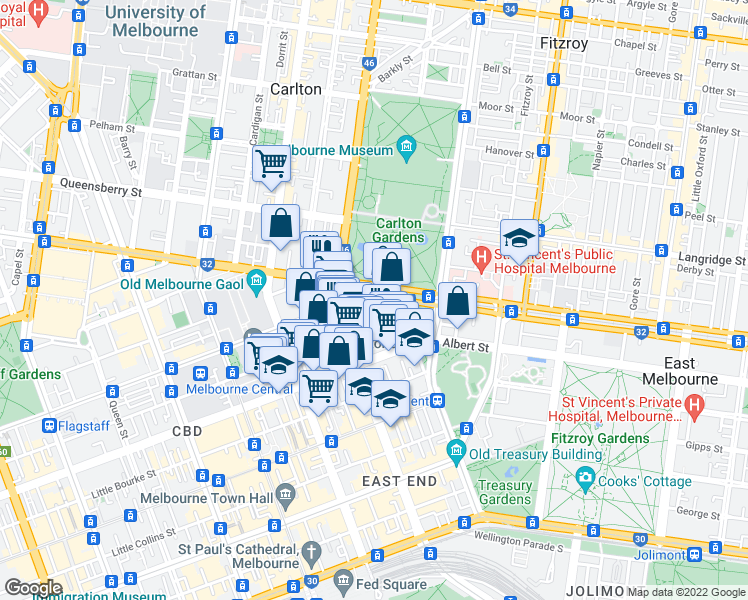 map of restaurants, bars, coffee shops, grocery stores, and more near in Melbourne