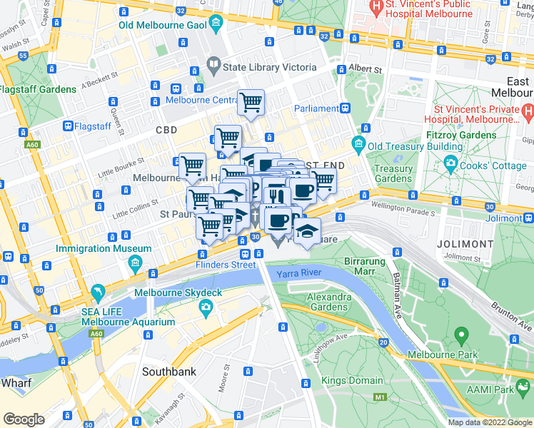 map of restaurants, bars, coffee shops, grocery stores, and more near 187 Flinders Lane in Melbourne