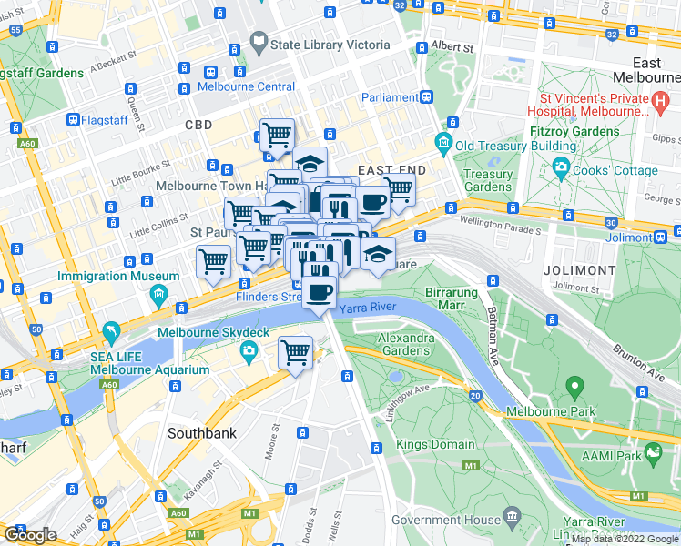 map of restaurants, bars, coffee shops, grocery stores, and more near 2 Swanston Street in Melbourne
