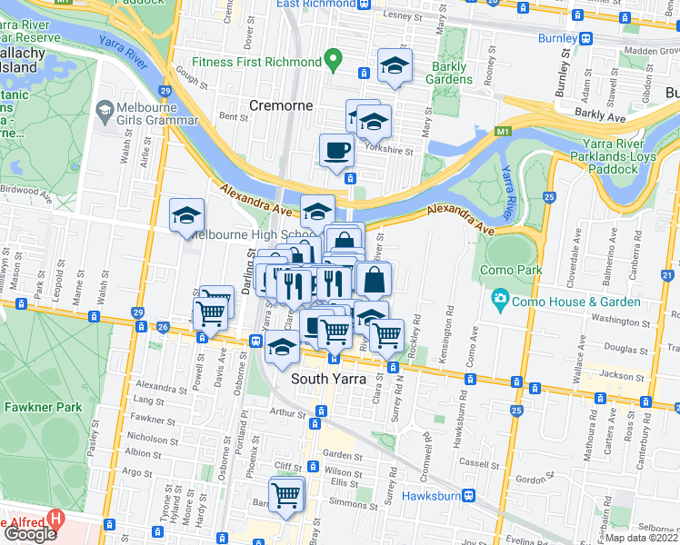 map of restaurants, bars, coffee shops, grocery stores, and more near 671 Chapel Street in South Yarra