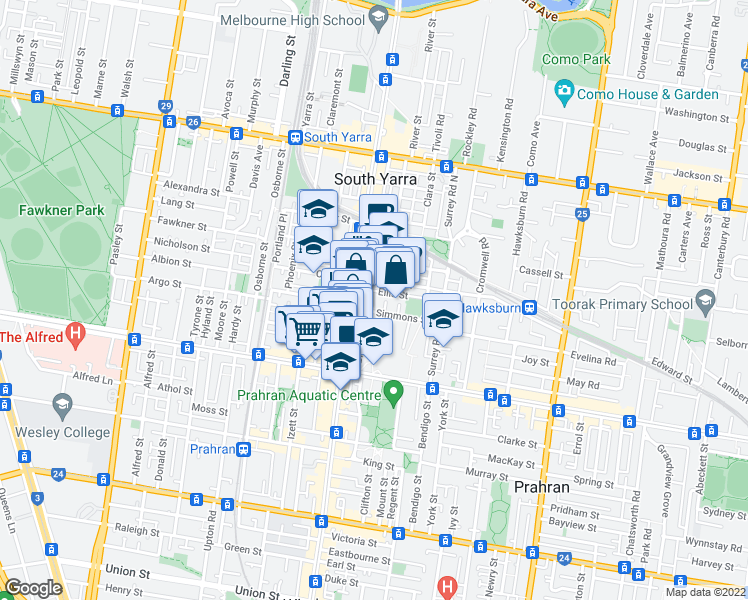map of restaurants, bars, coffee shops, grocery stores, and more near 21 Simmons Street in South Yarra