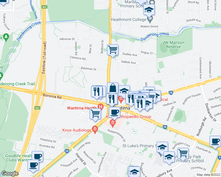 map of restaurants, bars, coffee shops, grocery stores, and more near 315 Wantirna Rd in Wantirna
