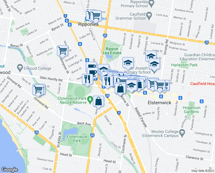 map of restaurants, bars, coffee shops, grocery stores, and more near 233 Glen Huntly Road in Elsternwick