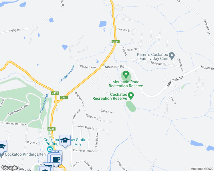 map of restaurants, bars, coffee shops, grocery stores, and more near 21 Naughton Road in Cockatoo