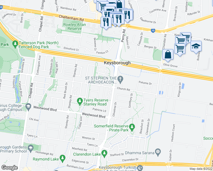 map of restaurants, bars, coffee shops, grocery stores, and more near 14 Minot Court in Keysborough