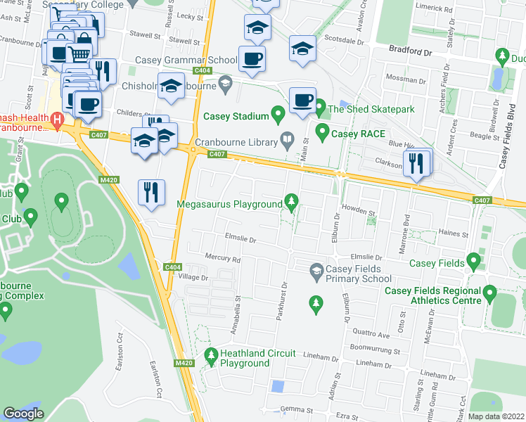 map of restaurants, bars, coffee shops, grocery stores, and more near Murrayfield Street in Cranbourne East