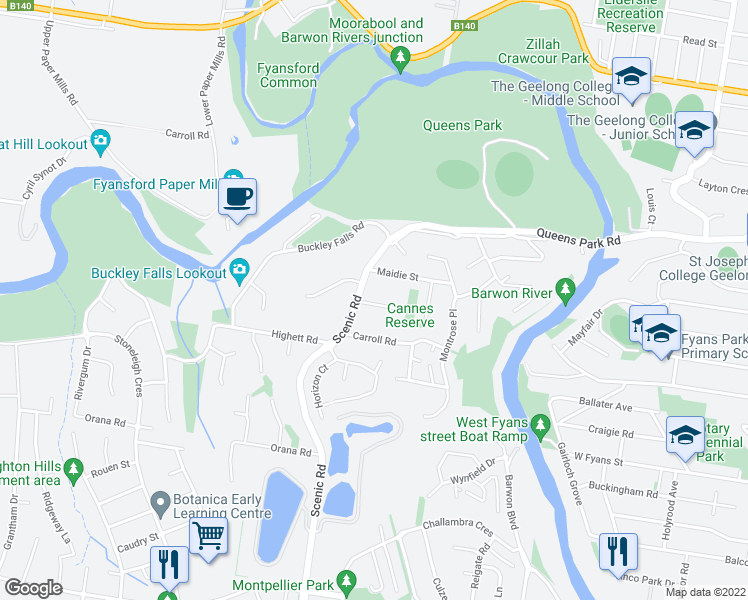 map of restaurants, bars, coffee shops, grocery stores, and more near 277 Scenic Road in Highton