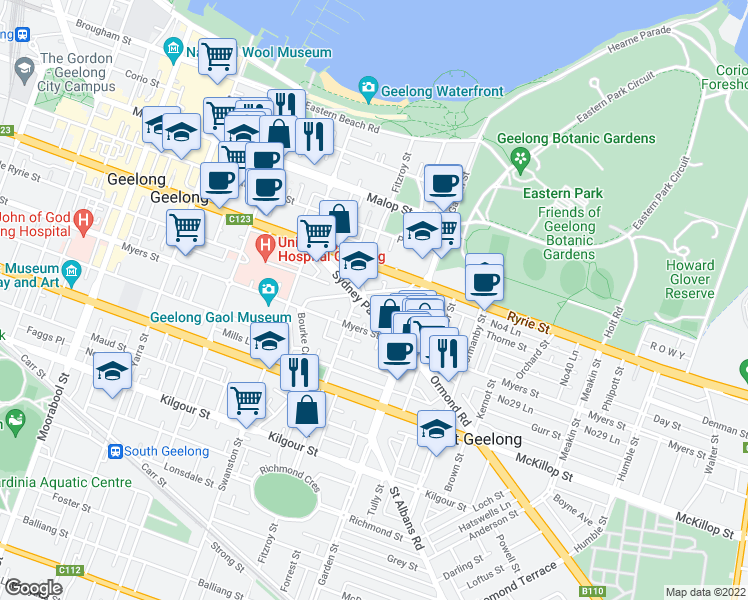 map of restaurants, bars, coffee shops, grocery stores, and more near 18 Sydney Avenue in Geelong