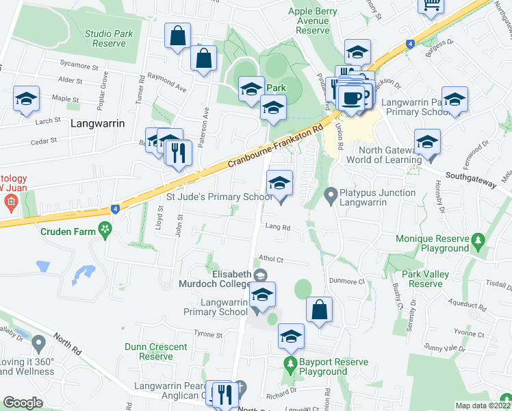 map of restaurants, bars, coffee shops, grocery stores, and more near 3 Lang Rd in Langwarrin