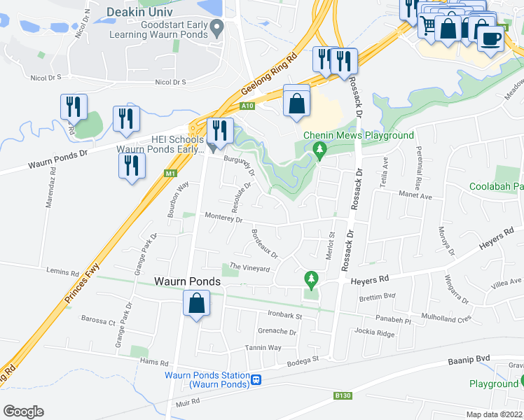 map of restaurants, bars, coffee shops, grocery stores, and more near 27 Monterey Drive in Waurn Ponds