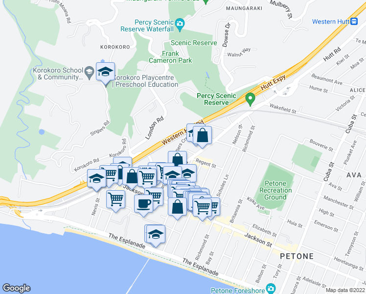 map of restaurants, bars, coffee shops, grocery stores, and more near 16 Riddlers Crescent in Lower Hutt