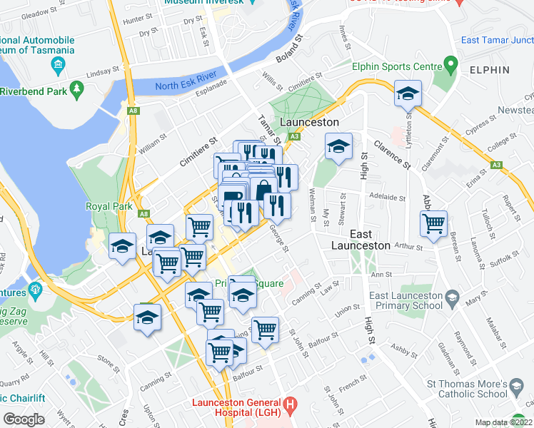 map of restaurants, bars, coffee shops, grocery stores, and more near 115 George Street in Launceston