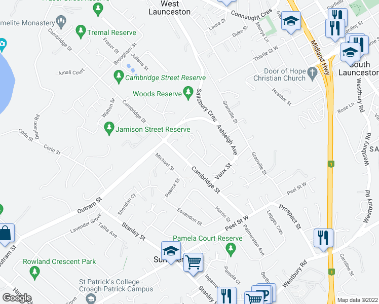 map of restaurants, bars, coffee shops, grocery stores, and more near 31 Henrietta Grove in West Launceston