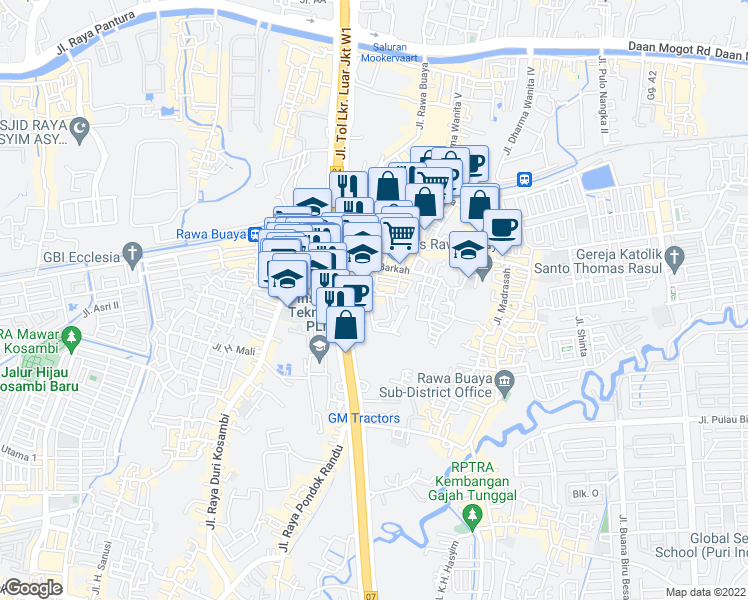 map of restaurants, bars, coffee shops, grocery stores, and more near in Kota Jakarta Barat