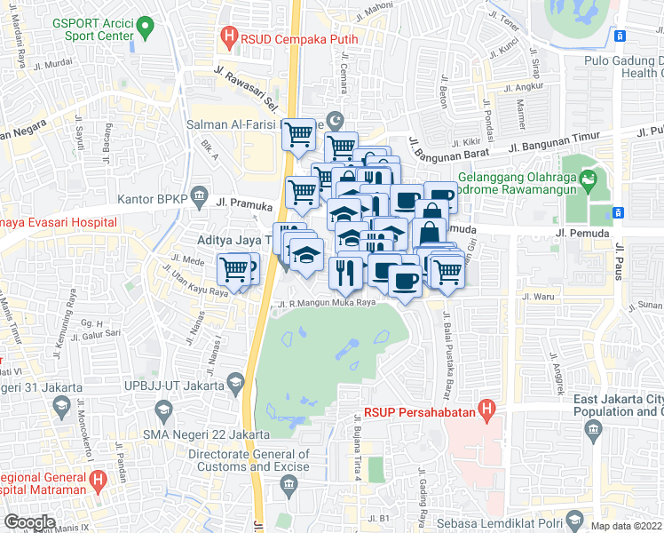 Map Rawamangun Jakarta Timur - Maps of the World