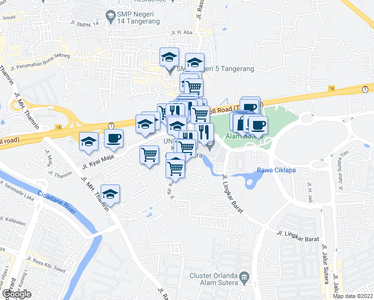 map of restaurants, bars, coffee shops, grocery stores, and more near Kyai Maja in Tangerang
